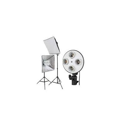 2 x SLH4 Komplette Start-Paket - video-Licht-m-Stativ-280 cm, lampehoved, softbox 8 x 125watt, Energiesparlampen 0