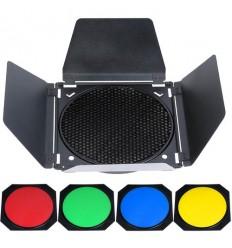 Barndoor mit Alveole und 4 Farbfilter für Godox keylight Reflektor