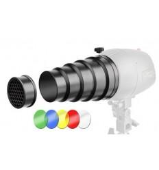 Snoot mit dem Licht der Wabe und 4 Farbfiltern - Für kleine flashlamper