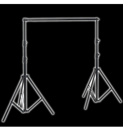 Transportable baggrundsstativ 120-305cm breit x 280 cm hoch schwarz, - Teleskop versenkbare tværlægger, M schwere Tasche 0