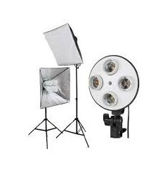2 x SLH4 Komplette Start-Paket - video-Licht-m-Stativ-280 cm, lampehoved, softbox 8 x 125watt Energiesparlampen