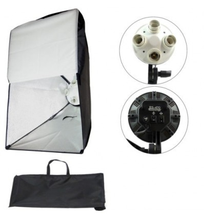 2 x SLH4 Komplette Start-Paket - video-Licht-m-Stativ-280 cm, lampehoved, softbox 8 x 125watt, Energiesparlampen 8