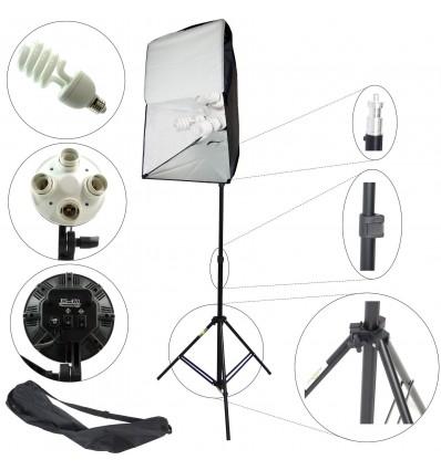 2 x SLH4 Komplette Start-Paket - video-Licht-m-Stativ-280 cm, lampehoved, softbox 8 x 125watt, Energiesparlampen 13