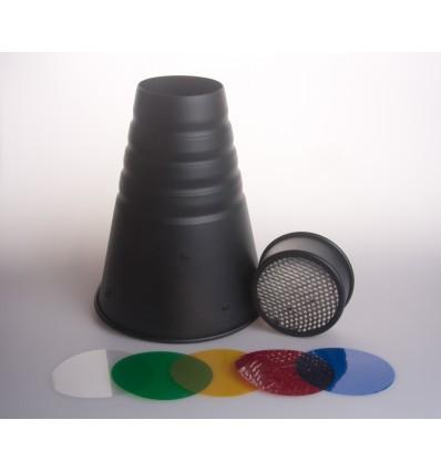 Snoot mit dem Licht der Wabe und 4 Farbfiltern - Für bowens S Bajonett 3 punktsfatning 3