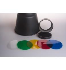 Snoot mit dem Licht der Wabe und 4 Farbfiltern - Für bowens S Bajonett 3 4 punktsfatning