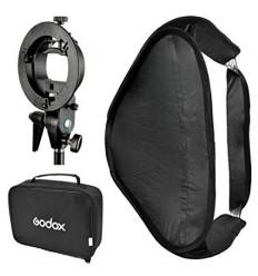 Godox softbox für strobist-håndflash 40x40cm m Doppel-Diffusor und Halterung t-Ständer, klappbar+speedring für bowens-s-Bajonett