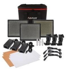 Aputure Amaran 528 Kit, 3-Leuchten - LED-Video-set - CRI95+ Batterie und 220volt, m-Tasche, knækled, Ladegerät+ 6-tlg 6600mah so